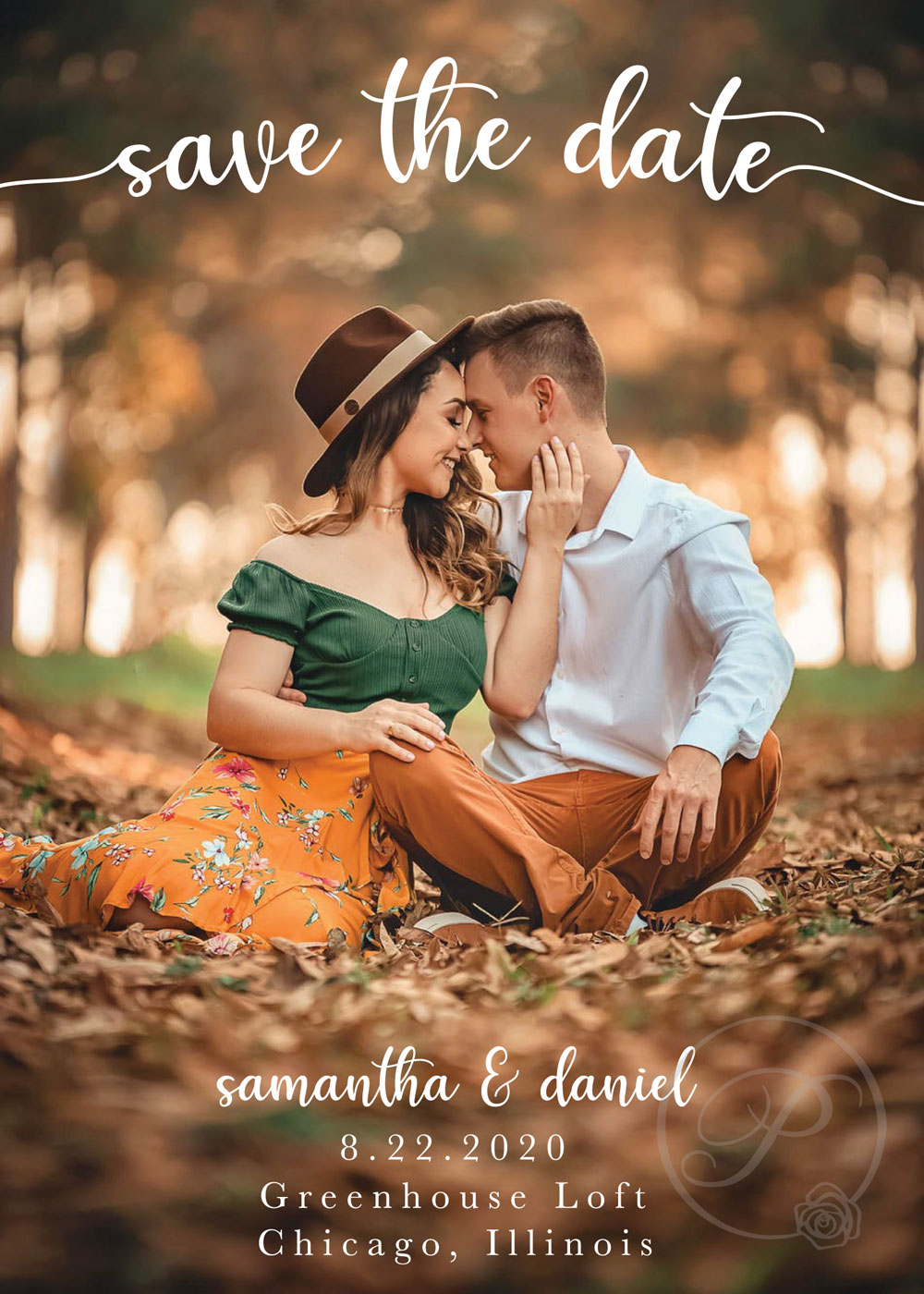 FALL SCENE WITH PHOTO SAVE THE DATES