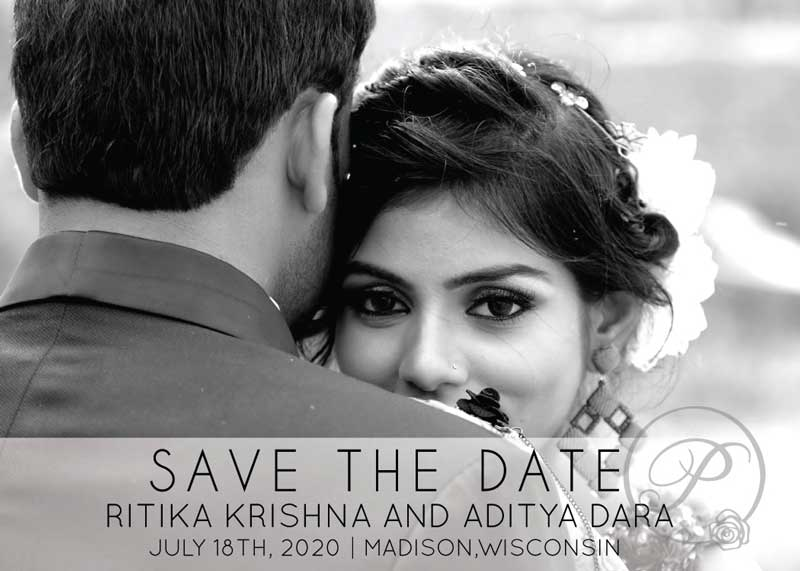 BLACK AND WHITE SAVE THE DATE WITH PHOTOS