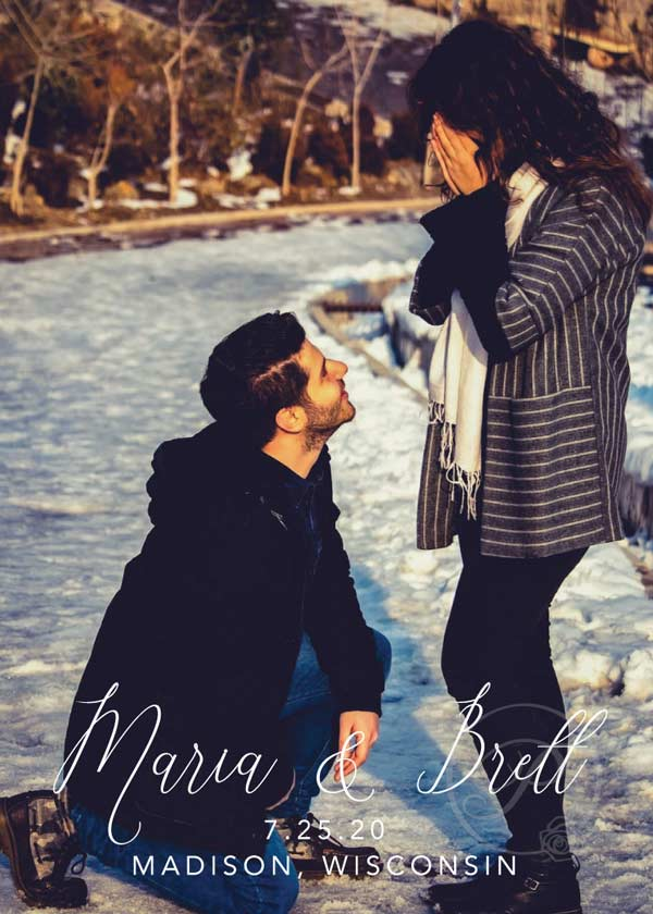 ENGAGED ROMANTIC SAVE THE DATE WITH PHOTOS