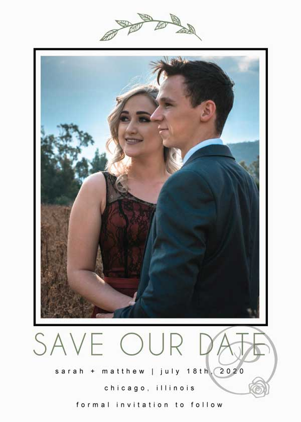 GREEN AND WHITE LEAVES SAVE THE DATE WITH PHOTO