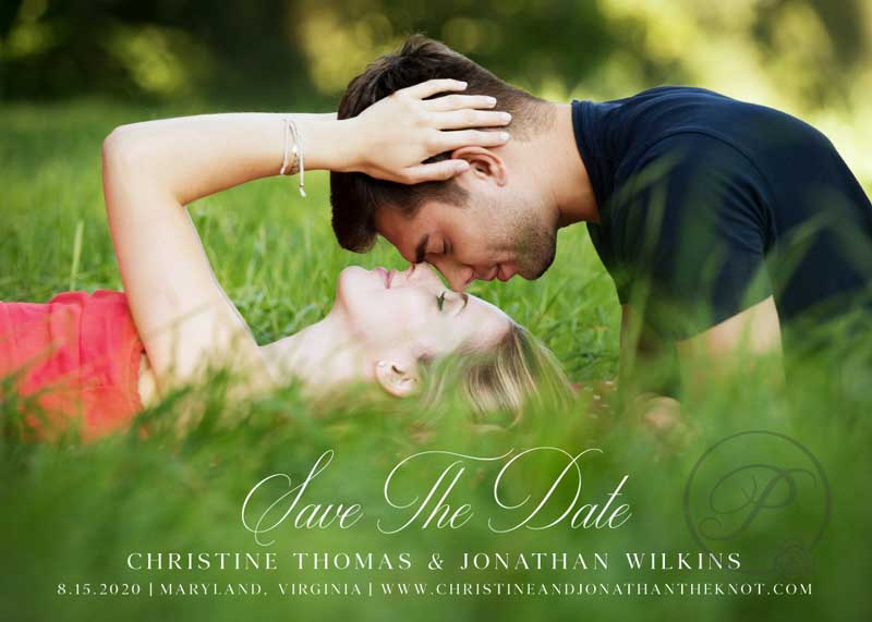 IN LOVE AND GREENERY SAVE THE DATE WITH PHOTOS