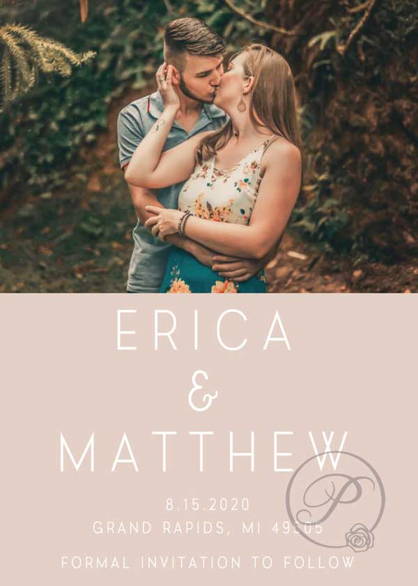 PEACH AND WHITE ROMANTIC SAVE THE DATE WITH PHOTO