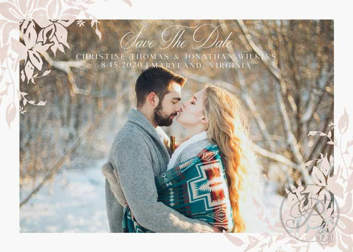 PEACH FLORAL AND WHITE SAVE THE DATE WITH PHOTO