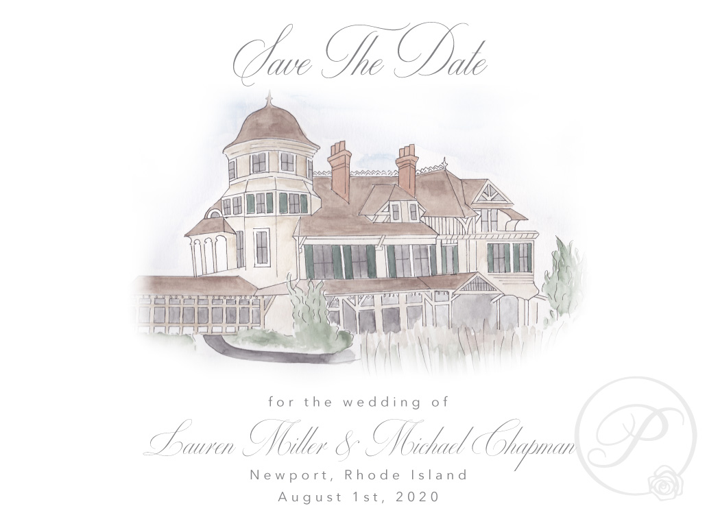 BEIGE WATERCOLOR CASTLE HILL VENUE SAVE THE DATES