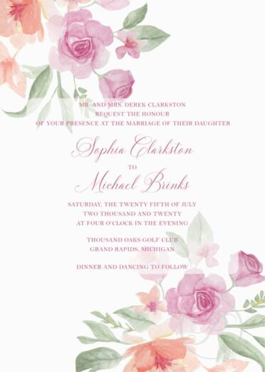 WATERCOLOR PINK FLORAL BOUQUET WEDDING INVITATIONS