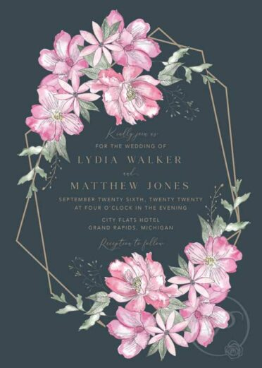 WATERCOLOR PINK FLORAL MODERN WEDDING INVITATIONS